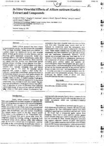 In Vitro Virucidal Effects of Allium Sativum (Garlic)