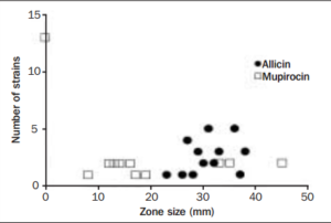 Number of strains and the size of zones of inhibition with Allicin  (500 µg/mL) and mupirocin against Staphylococcus aureus